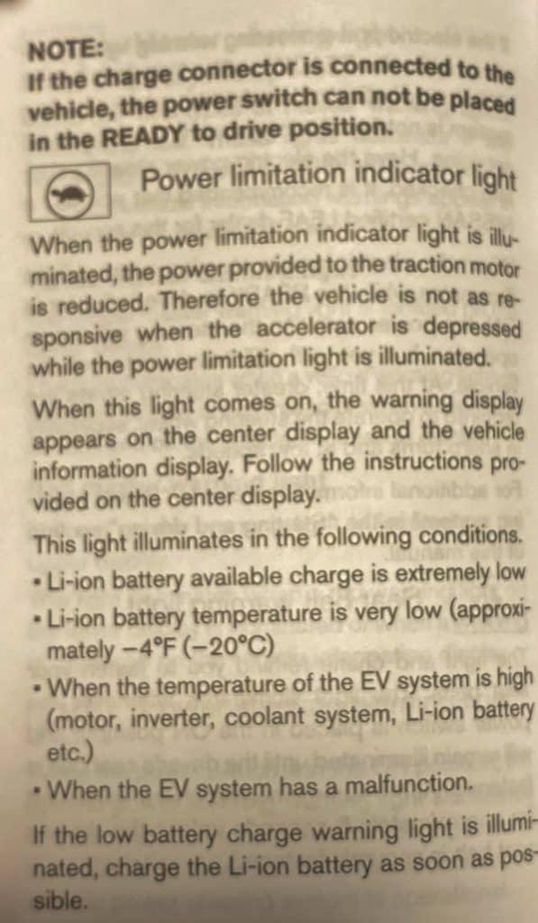 turtle mode electric car power limitation indicator
